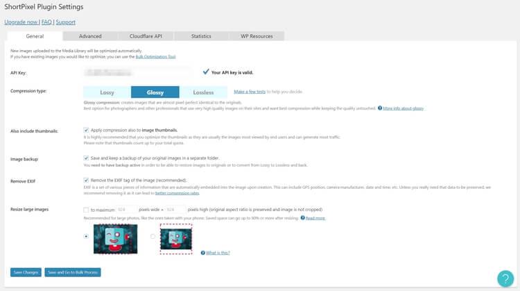 ShortPixel 的操作介面簡單明瞭,可以設置的選項不少。